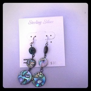 Sterling silver earrings genuine pauashell